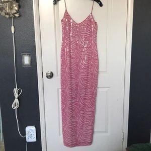 Pink zebra sequin maxi dress